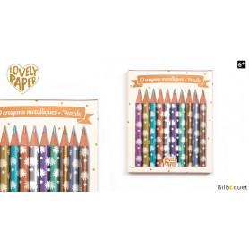 10 mini crayons métallisés Chichi - Papeterie Djeco