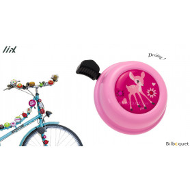 Sonnette de vélo Faon rose - Liix Colour Bell Ø60mm