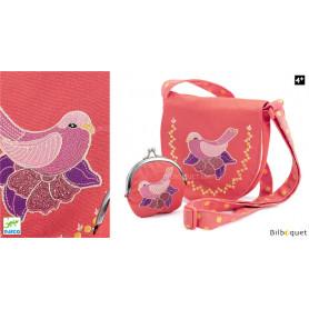 Sac porte-monnaie brodés oiseau