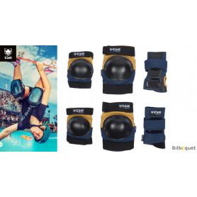 Set de protection Junior bleu/jaune pour skate