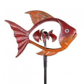 Metall windmille red fisch