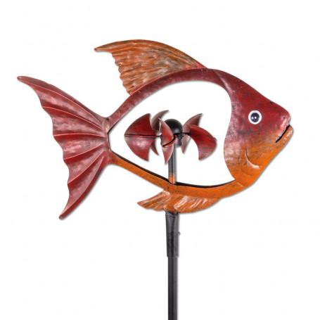 Metall windmille red fisch