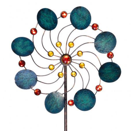Éolienne en métal - Fleur exotique - Jade