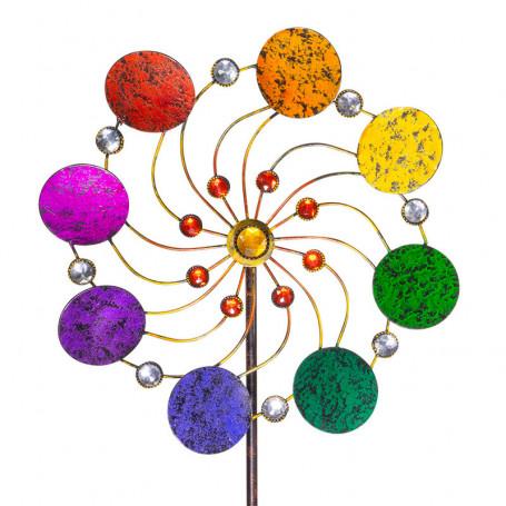 Éolienne en métal - Fleur exotique - Rainbow