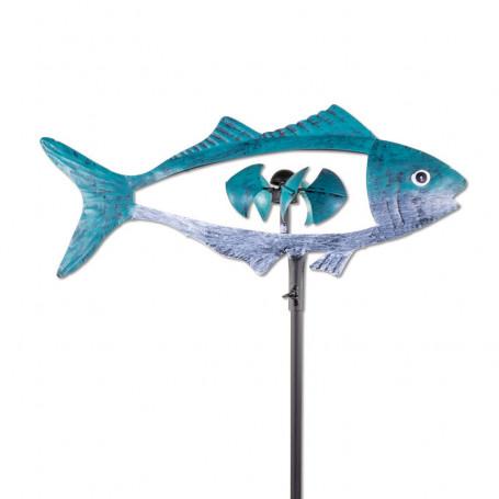 Éolienne métallique poisson bleu