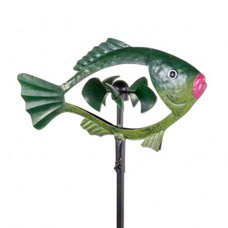 Éolienne métallique poisson verte