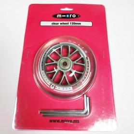 Roue avant transparente 120 mm pour trottinettes Micro - Pièce de rechange Micro