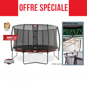 Trampoline BERG Elite rouge avec filet de protection Deluxe