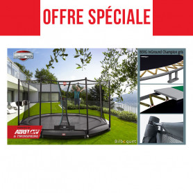Trampoline BERG InGround Champion gris avec filet de protection Deluxe