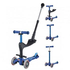 Mini Micro 3en1 Deluxe Plus - Bleu - trottinette et porteur 1-5 ans