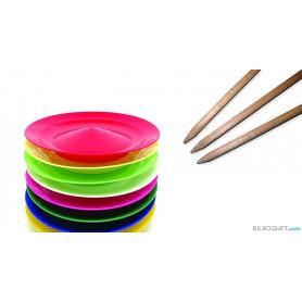 Assiette chinoise unie avec baguette bois