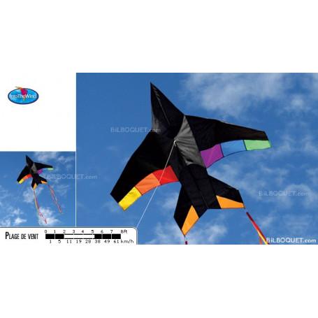 Cerf-volant monofil Jet Plane arc-en-ciel