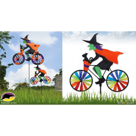 Eolienne bicyclette Sorcière à vélo 50x46cm