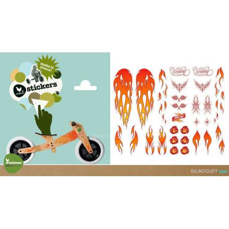 Stickers FLAMMES pour personnaliser le Wishbone Bike