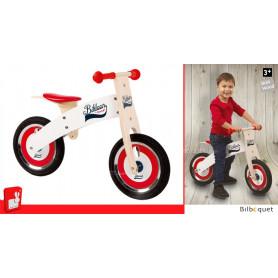 Draisienne en bois Bikloon rouge et blanche - Vélo d'apprentissage