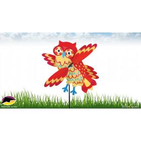 Éolienne Jeu de vent WhirliGig Hibou Orange 43cm