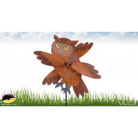 Éolienne décorative WhirliGig Hibou brun 30cm