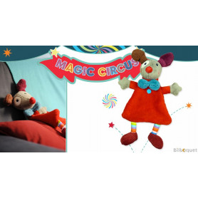 Doudou plat Clown Gustave rouge - Magic Circus
