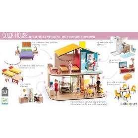 Color House - Maison de poupées MEUBLÉE