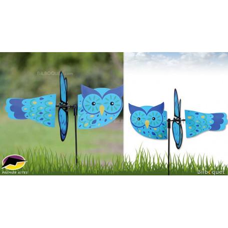 Éolienne d'extérieur Chouette bleue 45cm