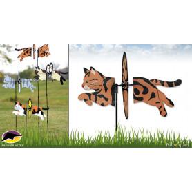 Éolienne de jardin Chat Tabby 48cm - Petite Spinner