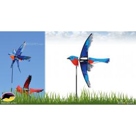 Éolienne décorative Oiseau Bluebird 58cm - Jeu de vent