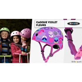 Casque enfant Violet Fleurs - Taille S
